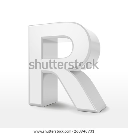 3d white alphabet R isolated on white background