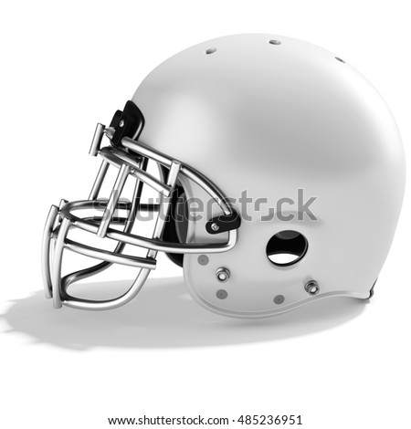 3d White American football helmet on a white background