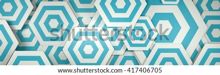 3D White and Blue Hexangon Background (Website Header)
