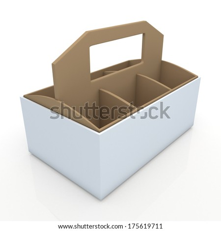 3d white and original brown beverage bottles box and partition packaging hexagon box and lids for blank template products in isolated background with clipping paths, work paths included  - stock photo