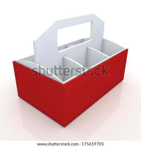3d white and red beverage bottles box and partition packaging hexagon box and lids for blank template products in isolated background with clipping paths, work paths included  - stock photo