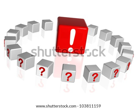 3d white and red boxes with question and attention sign - stock photo