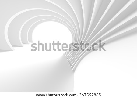 3d White Arch Interior Design. Abstract Architecture Background - stock photo