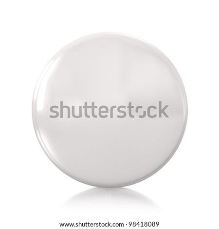 3d white badge isolated on mirror floor - stock photo