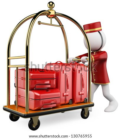 3d white bellhop pushing a luggage cart. 3d image. Isolated white background. - stock photo