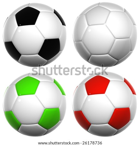 3d white,black,green and red leather soccer balls collection isolated on white background, for sport, recreation,football or soccer designs - stock photo