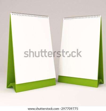 3d white blank calendar - stock photo