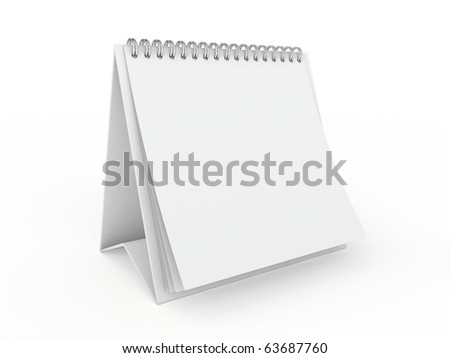 3d white blank calendar isolated on white background - stock photo