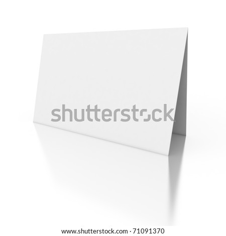 3d white blank paper card isolated on white background - stock photo