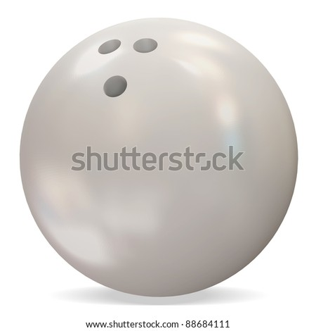 3d White Bowling Ball on white background - stock photo