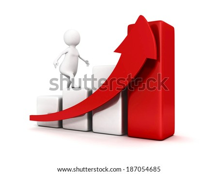3d white business man climbing up bar graph and growing arrow. success concept 3d render illustration - stock photo