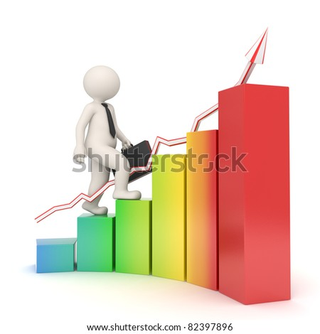 3d white business man with briefcase walking up the rainbow colored financial graph with arrow - Semi isolated with soft shadows - Success concept - stock photo