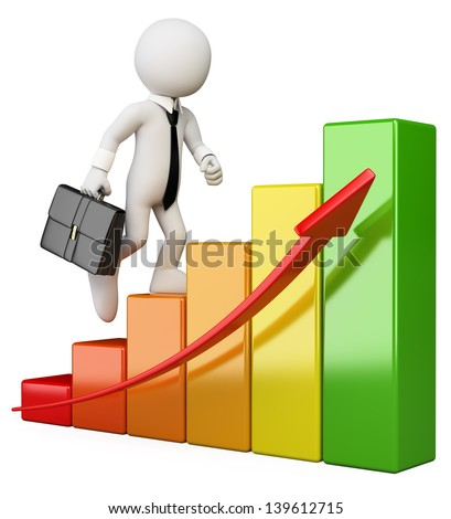 3d white business person climbing a bar graph. Isolated white background. - stock photo