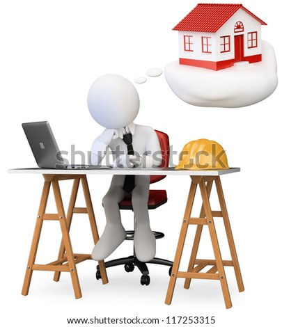 3d white business person dreaming in his office with his new home with a computer on the table. 3d image. Isolated white background. - stock photo