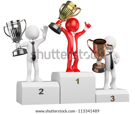 3d white business person on the the podium with trophies. 3d image. Isolated white background. Business people on the podium - stock photo