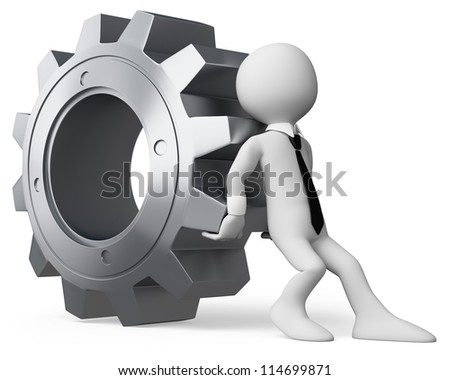 3d white business person pushing a huge gear. 3d image. Isolated white background. - stock photo