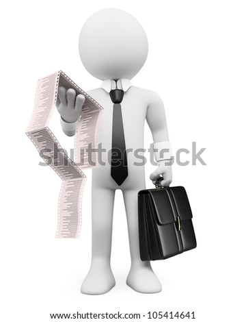3d white business person with a briefcase and invoices. 3d image. Isolated white background. - stock photo