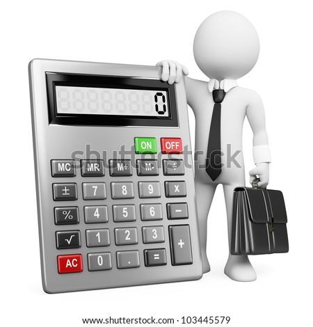 3d white business person with a calculator and a briefcase. 3d image. Isolated white background. - stock photo