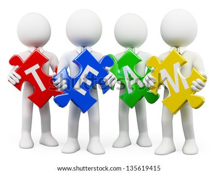 3d white business persons with pieces of puzzle with the word team. Isolated white background. - stock photo