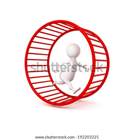 3d white businessman runs in hamster wheel. business time working concept 3d render illustration - stock photo