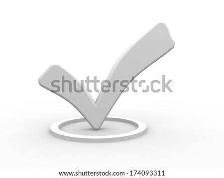 3d white check mark. 3d render - stock photo