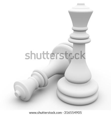 3d white chess pieces - stock photo