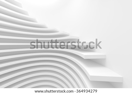 3d White Circular Construction. Modern Architecture Background - stock photo