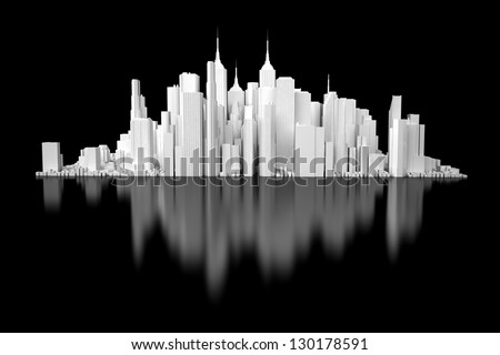 3d white city isolated on black mirror background - stock photo
