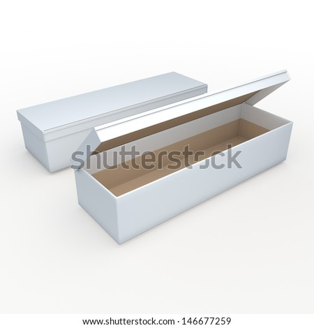 3d white clean and brown long rectangle  opened box packaging blank template in isolated with clipping paths, work paths included  - stock photo