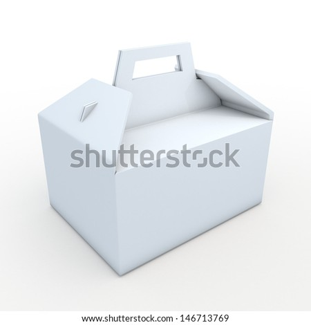 3d white clean carton packaging box for heavy products with handle in isolated background with clipping paths, work paths included  - stock photo