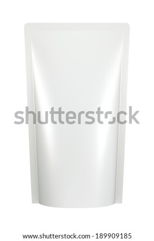 3D white color bag package design, isolated - stock photo