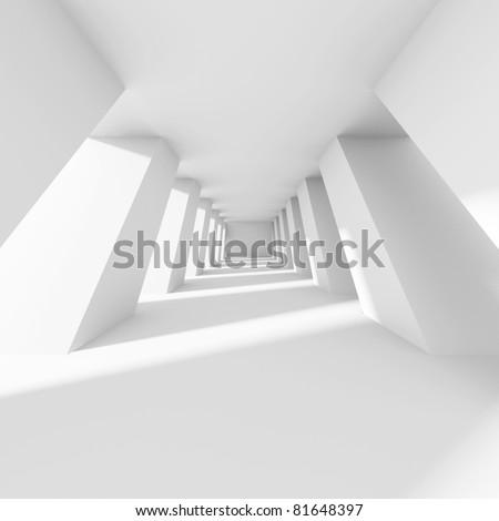 3d White Corridor - stock photo