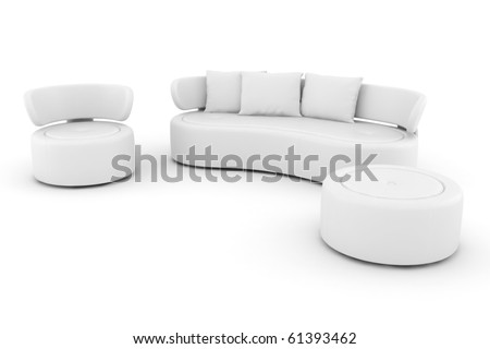 3d white couch isolated on white - stock photo