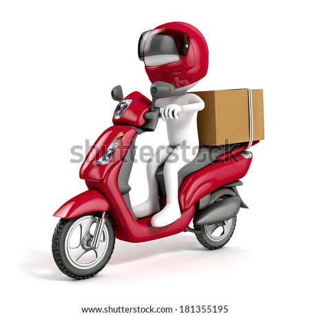 3d white courier delivering a package on a red scooter isolated