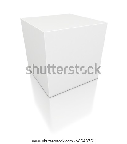 3d white cube - stock photo