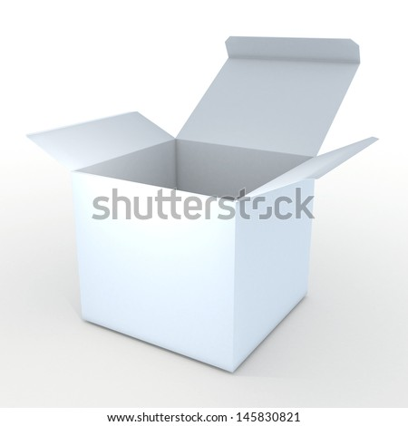 3d white cube box packaging blank template in isolated with clipping paths, work paths included  - stock photo