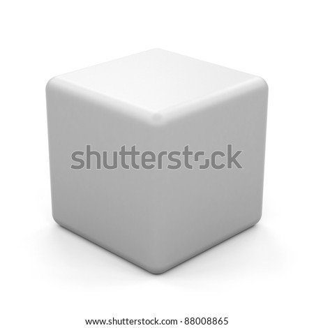 3d white cube isolated. - stock photo