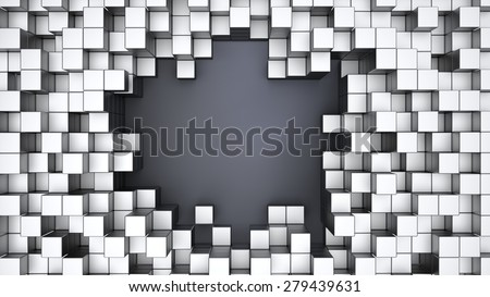 3D White Cubes Background and Frame - stock photo