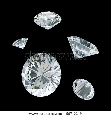 3d white diamonds on isolated background with clipping paths, work paths includes  - stock photo