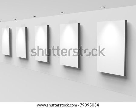 3d White display areas on a wall