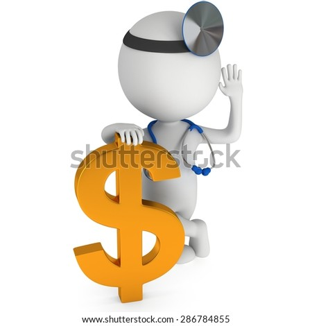 3d white doctor stand with golden dollar sign. Thumbs up. Render isolated on white.  Medical insurance concept.