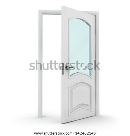 3d white door on white background with glass