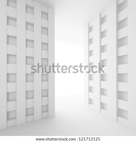 3d White Empty Room Design - stock photo