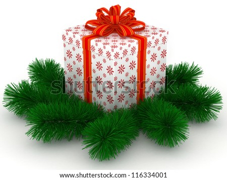 3D white Gift christmas box with red bow and sprigs of christmas tree on the white - stock photo