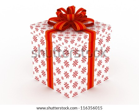 3D white Gift christmas box with red bow on the white - stock photo