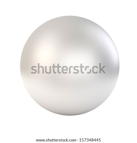 3d white glossy sphere on white background - stock photo