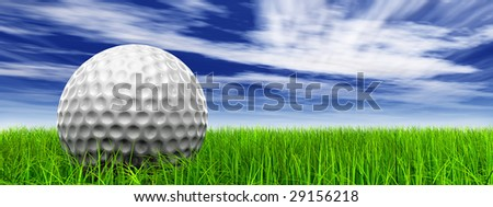 3d white golf ball in green grass on a blue sky banner with clouds background, for sport, recreation, or golf play designs - stock photo