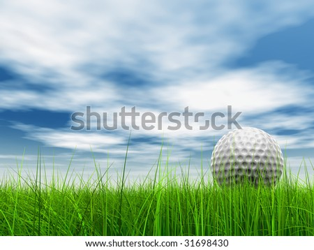 3d white golf ball in green grass on a blue sky with clouds background. - stock photo