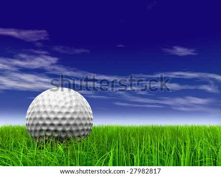 3d white golf ball in green grass on a blue sky with clouds background, for sport, recreation, or golf play designs - stock photo