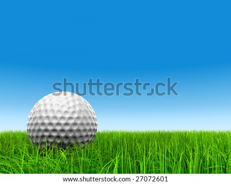 3d white golf ball in green grass on a clrear blue sky background, for sport, recreation, or golf play designs - stock photo